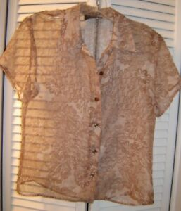 Anxiety sheer blouse, button front size M