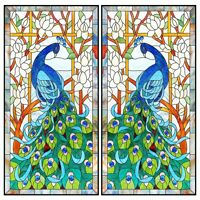 Peacock Stained Glass Church Decorative Window Film Static Cling Privacy Films