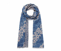 Ladies New Double Sided Floral And Animal Print Design Scarf in Blue And Beige