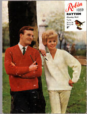 Vintage  Knitting Pattern, Robin, His & Hers Sweaters, Chunky, 38-44, 1059