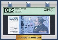 "TT PK 61 2001 ICELAND CENTRAL BANK 10000 KRONUR ""HALLGRIMSSON"" PCGS 68 PPQ"