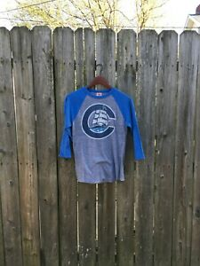 Unisex Homage Columbus Clippers MLB Blue and Gray Baseball Sleeve Tee Size Small