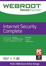 Webroot secureanywhere Internet Security completo 2020, 5 dispositivi 1 ANNO CARD