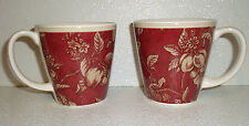 """Waverly Mug Cup FRUIT TOILE Retired Set Of TWO Red Fruits 3.75"""" Garden Room"""