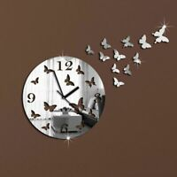 Crystal Mirror Wall Clock Sticker Living Room Home Decor Butterfly Pattern Watch