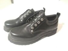 Skechers Men's Size 9M Black Alley Cats 7111 Leather Utility Oxfords~NEW