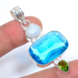 "Blue Topaz & Rainbow Moonstone Gemstone 925 Sterling Silver Pendant 2.15"" S199"