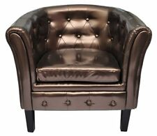 Chesterfield Armchair Leather Brown Arm Tub Chair Lounge Furniture Wing Sofa