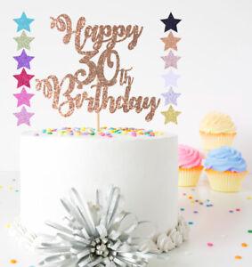 Happy Birthday ANY AGE 16th 18th 21st 40th 60th ETC Glitter Cake Topper Decor