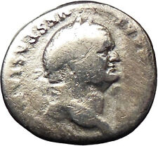 VESPASIAN 75AD Ancient Silver Denarius Roman Coin PAX Peace i30203