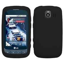 Black Silicone SKIN Case Cover for LG Optimus S LS670