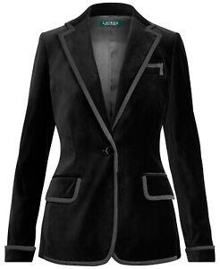 Women's Lauren Ralph Lauren Black Stretch Velvet Blazer Jacket New