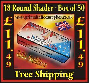 Sexy Pins Tattoo Needles 18 Round Shader  - Box of 50  - (Tattoo Supplies -Tips)