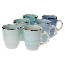 6-tlg. Kaffeebecherset Blue Baita 350 ml Trinkbecher Tee Kakao Pott Blautöne