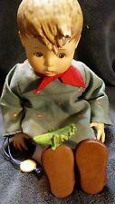 "Hummel Friend Or Foe Doll Goebel Porcelain Boy with Grasshopper 8"" Tall"