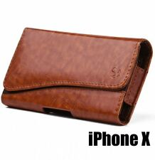 for iPhone X - HORIZONTAL BROWN Leather Pouch Holder Belt Clip Loop Holster Case