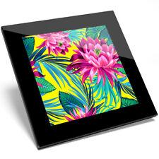 1 x Purple Lotus Flower Lily Palm Glass Coaster - Kitchen Student Gift #14722