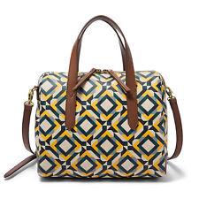 NWT Fossil Sydney Crossbody Satchel Yellow Geometric Handbag SHB2351702 $138 Ret
