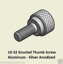 """10-32 x 7/16 """" Knurled Thumb Screw (50 Pieces) Aluminum Silver Anodized Finish"""