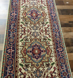 """2'8""""x12' New Hand knotted Wool Super Serapi Herizz Oriental area rug runner"""