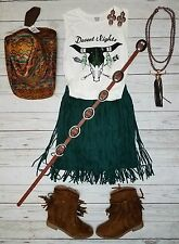 Cowgirl FRINGE MINI SKIRT Dark Green Faux Suede Short Western Sexy nwt S/M