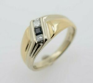 14K Yellow Gold Ring with Princess Cut Diamonds and Sapphire