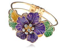 Colorful Enamel Flower Painted Big Spring Flower Tone Bracelet Bangle Cuff Band