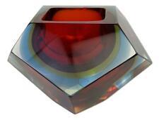 Mid Century Modern Murano Art Glass Red Clear Sommerso Diamond Vase Ashtray Bowl