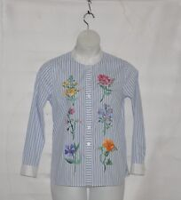 Bob Mackie Floral Embroidered Button Front Shirt Size S Blue