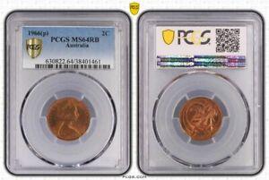 1966-p Australian 2c Two Cent MS64RB