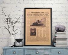 Titanic New York Times History Poster Newspaper Retro Kraft Paper Large History