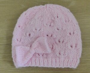 hand knitted baby girls hat pink newborn