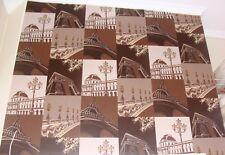 Paris Theme Vinyl Wallpaper Warm Chocolate & Gold highlights Eiffel Tower