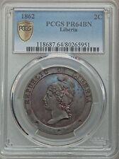 1862 Liberia 2 Cents PCGS PR 64 BN, Scarce Date in Proof