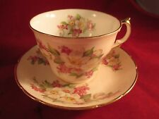 VINTAGE REGENCY ENGLISH BONE CHINA TEA CUP & SAUCER GILT EDGED FLORAL PATTERN
