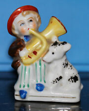 Vintage Occupied Japan boy figurine with dog and playing a horn miniature