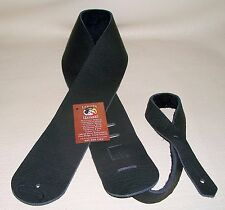 LAKOTA LEATHERS Soft Thick BISON Leather Guitar - Bass Strap Lakota Black 3 inc