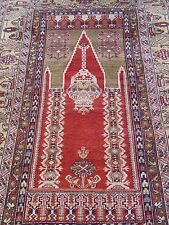 "4' X 6'4"" Antique Anatolian Turkish Prayer Hand Made 100% Wool Oriental Rug"