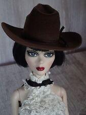 """Allfordoll STYLE COWBOY Brown HAT for 18.5"""" Evangeline Ghastly Tonner BJD Dolls"""