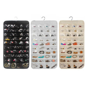 Double-Sided Jewelry Hanging Organiser 80 Pocket Wardrobe Storage Bag Display