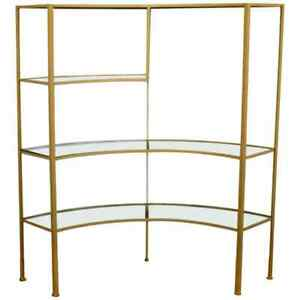 Mid Century Modern Glass Curved Wrought Iron Shelving Unit Frederick Weinberg