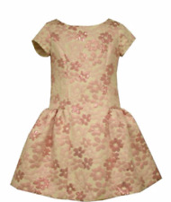 NWT $72 BONNIE JEAN Brocade Floral Special Occasion Dress 5 Pink Holiday Party
