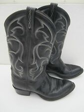 Mens size 9 EE Extra Wide Tony Lama Lizard skin leather black cowboy boots CZ810
