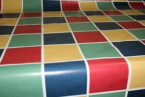 PVC Squares Green Red Blue    Oilcloth Vinyl Tablecloth Wipe Easy 140CM Wide