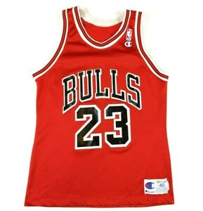 VTG 90s Champion Michael Jordan Chicago Bulls Jersey Size 40 M Red NBA
