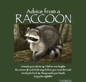 Raccoon T-shirt S M XL Advice Green Short Sleeve Cotton NEW NWT Gildan
