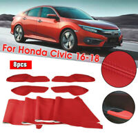 4* Red Car Door Panel Armrest Cover Surface Shell Trim For Honda Civic 2016-2018