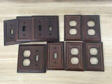 Vintage Dark Wood Grain Outlet Receptacle Wall Cover Plates LOT of 11