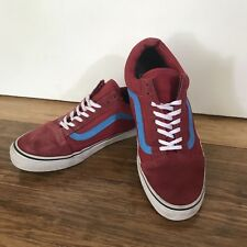 ☘️ VANS men's Leather Red Blue Stripe Loafers Lace Up Sneakers Runners Sz 11 10