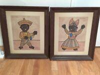 Jose Maria De Servin / Original Paintings Pair – Boy and Girl dressed up